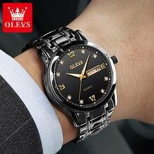 OLEVS Fashion Diamond Men's Watches Luxury Bling Stainless Steel Men Quartz Wristwatches Casual Busi