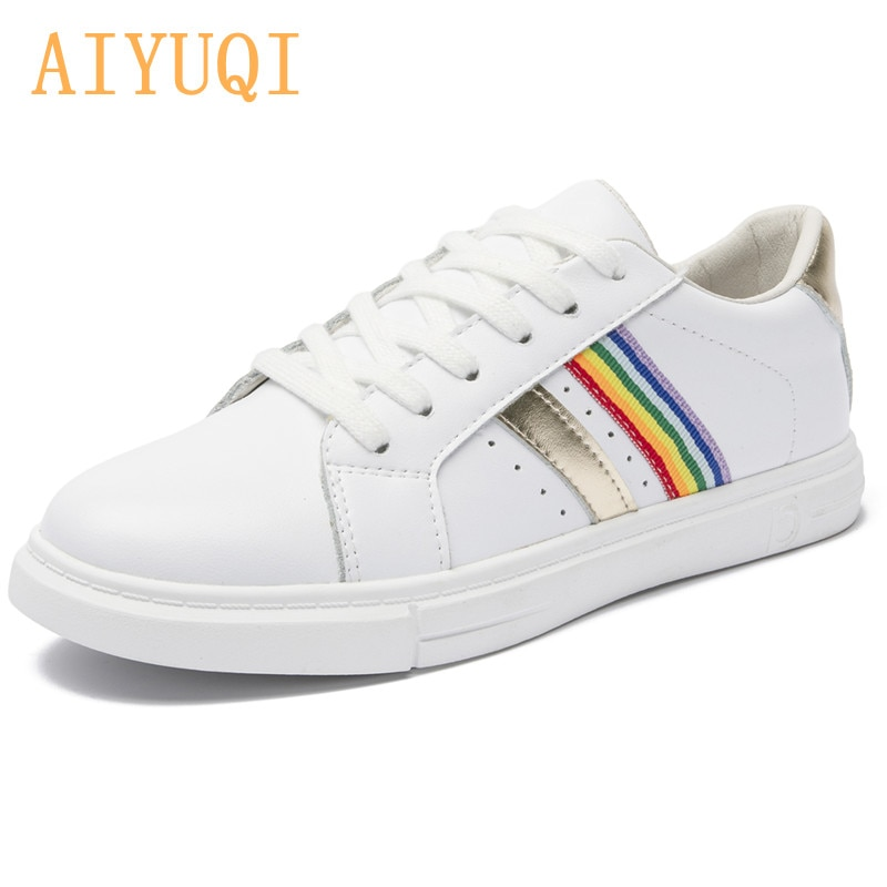 AIYUQI Women Sneakers White 2021 Spring New Genuine Leather Girl Student Shoes Flat Lace-up Shoes Casual Trend Board Shoes Women