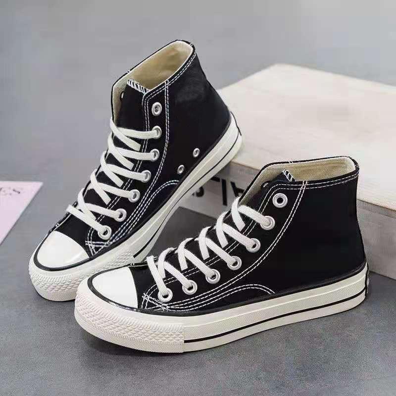 Chaussures de sport à lacets et semelle épaisse, chaussures plates et montantes en toile assorties avec tout, pour Couple, décontractées, mode coréenne, nouvelle collection 2021