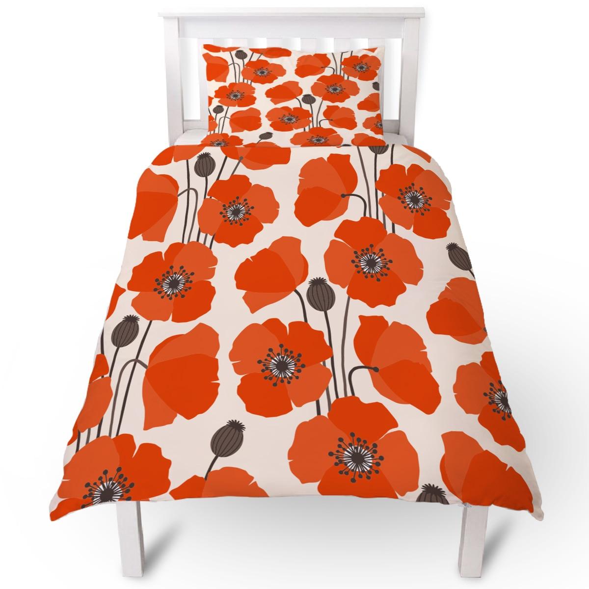 Flower Orange Poppy Duvet Cover Pillow Case Quilt Cover Set Bedclothes Single Bedding Sets For Bed