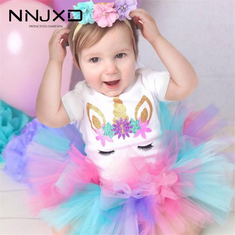 Новые хлопковые вечерние платья-пачки для первого дня рождения для маленьких девочек, Vestidos Infantil, одежда принцессы детская одежда для девоче...