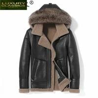2021 natural fur coat men vintage sheep shearling jacket hooded mens clothing raccoon dog fur collar 2021 veste homme 494