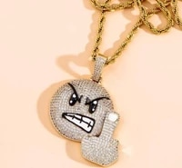 european and american popular hip hop fashion zircon inlaid angry expression pendant necklace mens rock punk party jewelry