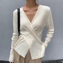 Chic Autumn Elegant Thin V-neck Tops Cross Careful Slim Long Sleeve Bottomed T-shirt Women's Sweater