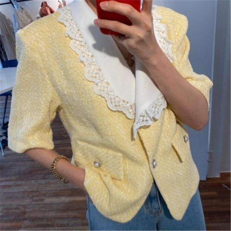 RUGOD 2020 nuevas llegadas temperamento mujer blusa camisa coreano Chic Turn-down Collar Patchwork encaje túnica Mujer