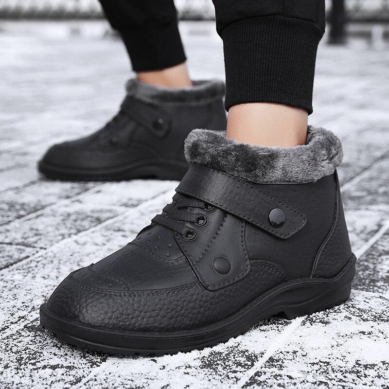 Модные мужские ботинки, зимняя обувь, мужские зимние ботинки, теплая водонепроницаемая обувь от дождя, уличные плюшевые зимние мужские боти...
