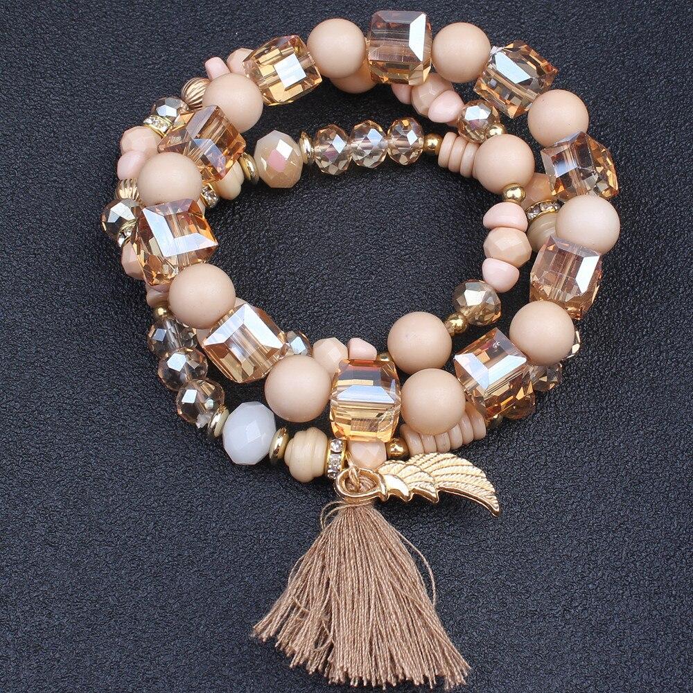 2019 3pcs/set Bohemian Tassel Wings Crastal Beads Charm Bracelet Set for Women Handmade Elastic Faceted Glass Trendy Jewelry