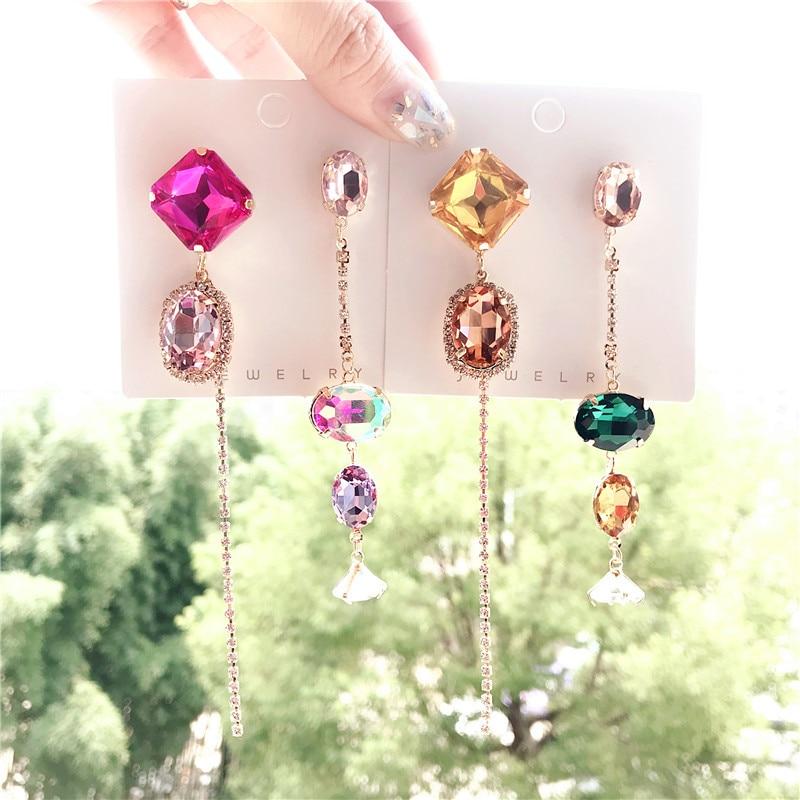 Estilo coreano trendsetter simples brincos borla mix jogo longo pingentes brincos moda jóias femininas