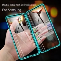 360 full protection magnetic case for samsung s10 s20 s9 s8 plus a71 a70 a51 a50 a20 note 10 20 9 8 plus uitra lite double glass