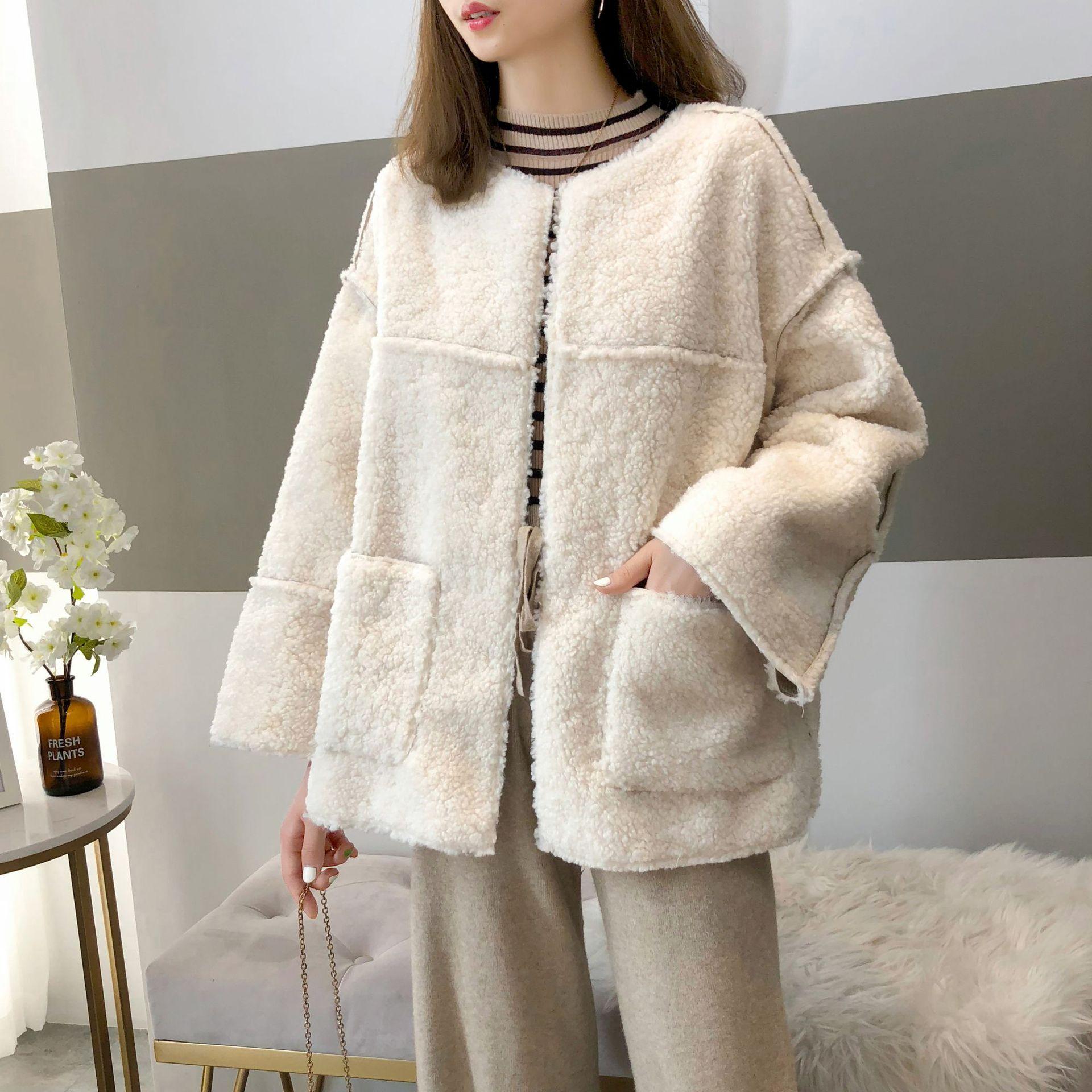 Elegant Faux Fur Woolen Coat Women Fashion Autumn Winter Warm Soft  Fur Jacket Female Plush Overcoat Pocket Casual Teddy Outwear недорого