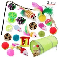 21pcs cat toys kit collapsible tunnel cat toy fun channel feather balls mice shape pet kitten dog cat interactive play supplies