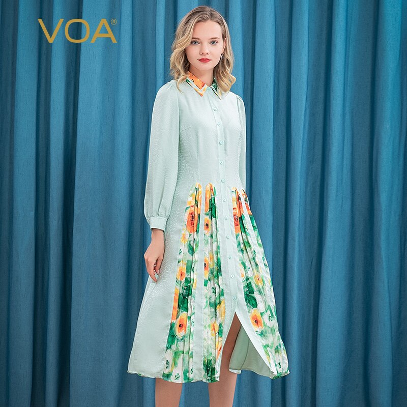 VOA 20 متر/شهر الحرير الجاكار قميص طوق طويل كم واحد الصدر Yuke مطوي توسيع اللباس للنساء AE179 القوطية اللباس