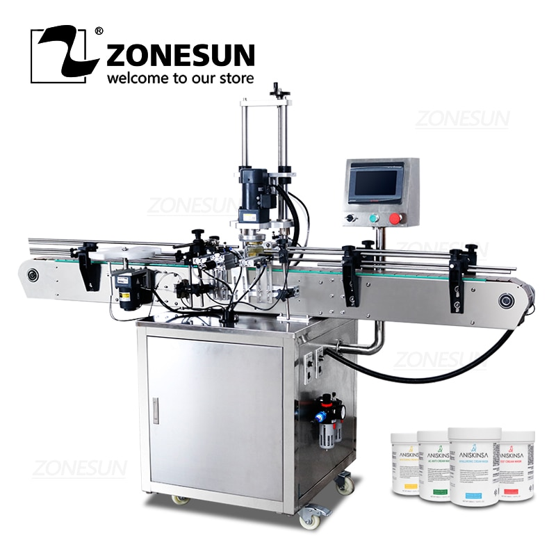 ZONESUN ZS-XG440D Full Automatic Twist Off Cap Round Jam Bottle Glass Jar Screw Capping Machine
