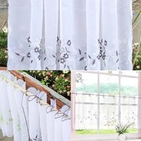 embroidered lace half valance eyelet tier curtains kitchen window treatment 3 colors 6 sizes available