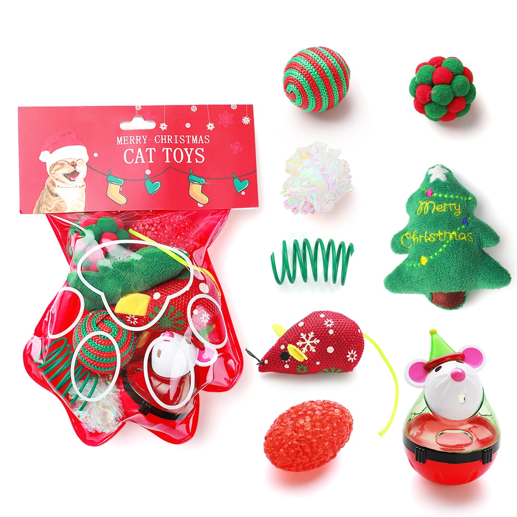 cat dry food pro plan light low calorie for cats turkey 1 5 kg 8pcs Christmas Cat Toy Set Funny Cat Food Ball Cat Toy False Mouse Pet Chew Toys Cat Spring Crinkle Ball Toy For Cats