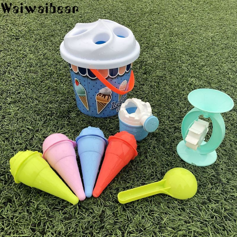 игровые наборы Детские пляжные игрушки из песка, модели мороженого, набор из ведра, игровые наборы, игровые украшения с ведром для пляжной вечеринки, набор ...