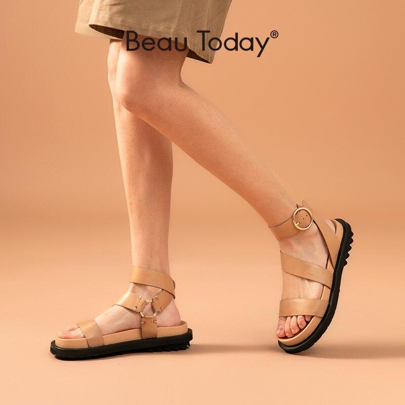 BeauToday sandalias de mujer de piel de oveja de cuero genuino correa de tobillo hebilla de anillo de Metal señora zapatos de plataforma de verano hechos a mano 38123