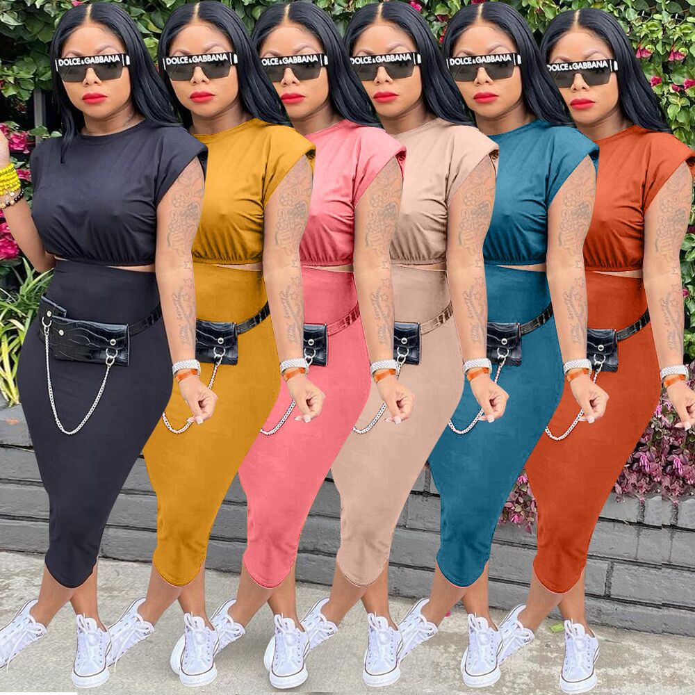 2021 Summer Sexy Two Piece Set For Women Solid Color Casual Short Sleeve O-neck T-shirt & Bodycon Sk
