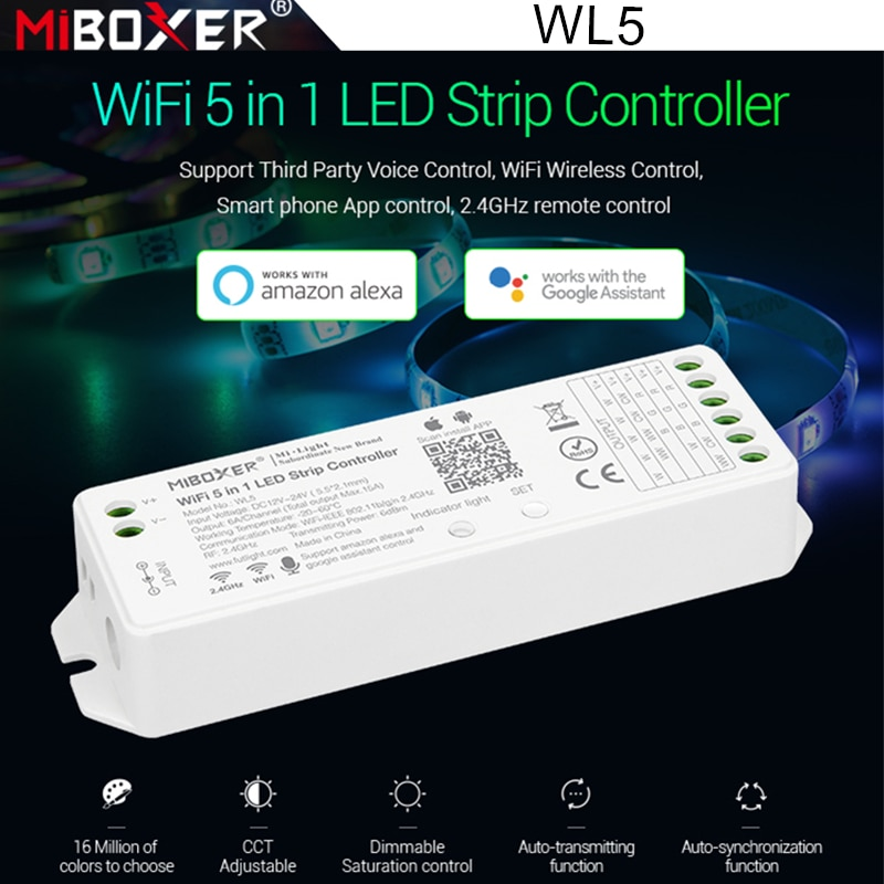 Miboxer WL5 2.4G 15A 5 IN 1 WiFi LED Controller For Single color CCT RGB RGBW RGB+CCT Led Strip Support Alexa Voice