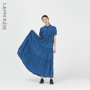LANMREM 2021 New  Summer Solid Color Short Sleeve Dress Women  Dresses Ladies Elegant Party Clothes 2D1531