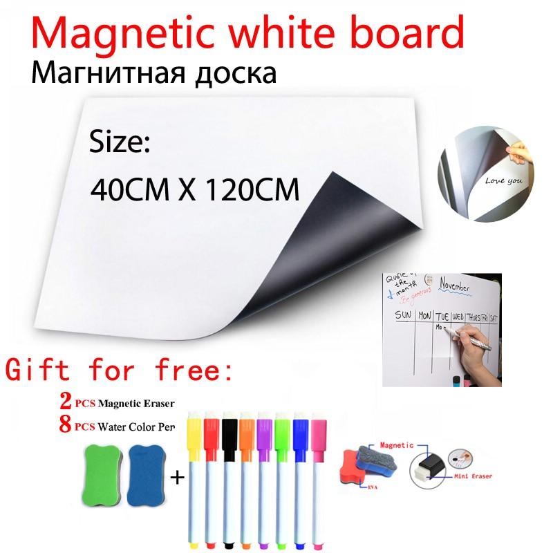Magnetic Whiteboard Fridge Sticker Flexible Dry Erase White Board School Home Office Kitchen Message Wall Board 40X120CM
