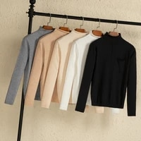 2021 korean style long sleeve top sweaters for women fashion tops clothing sweaters v neck black white pullovers knitted blouses