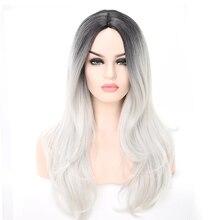 LANYI Haar 2 Tone Ombre Grau Blonde Synthetische Perücke für Frauen Mittleren Teil Lange Wellenförmige Haar Perücken Hitze Beständig Cosplay haar Perücken