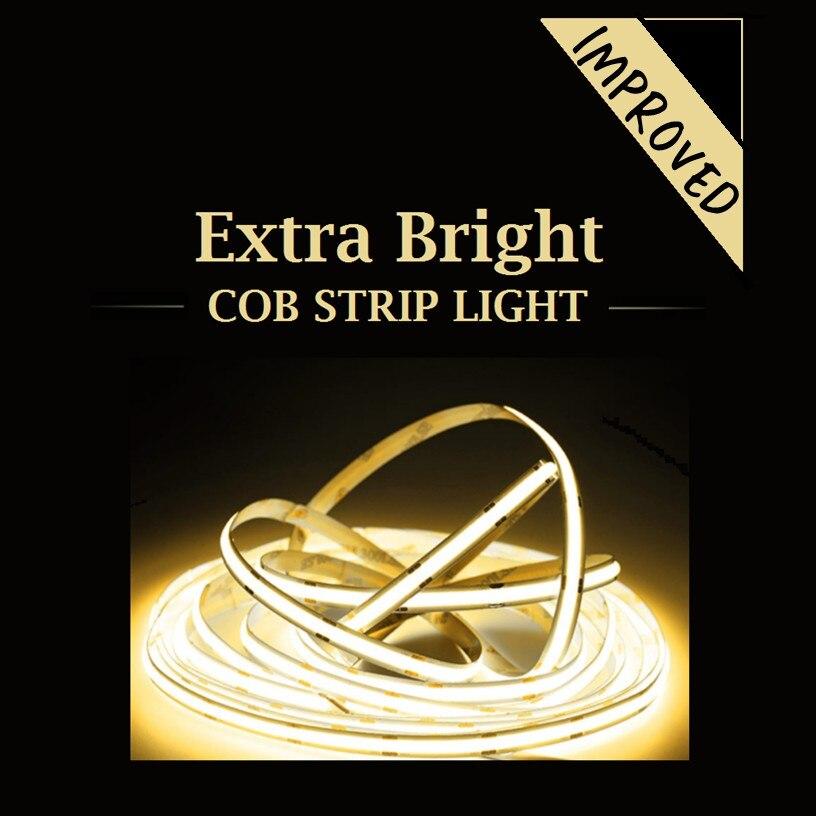 COB LED قطاع قطاع ضوء ستريبلايت 5 متر اضافية مشرق تحسين الإصدار 12 فولت