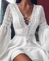 zogaa sexy crochet lace v neck mini dress 2021 summer flare sleeve chiffon beach dress elegant women dress party sexy