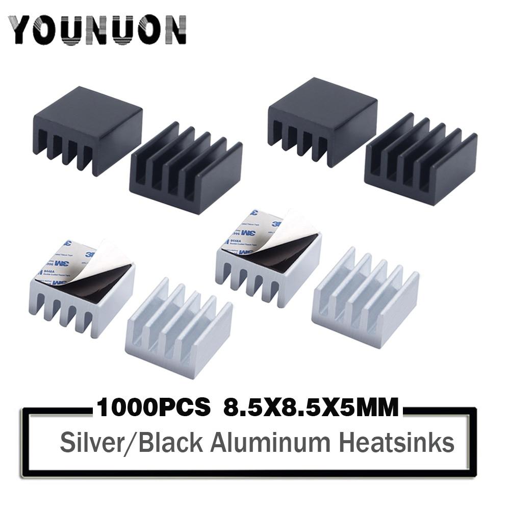 1000 Uds YOUNUON 8,8*8,8*5mm disipador de calor de aluminio para Raspberry Pi, Chip, LED, Transistor IC de potencia, módulo PBC