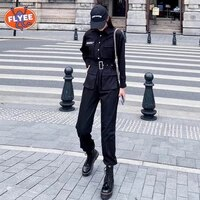 fall black belt overalls rompers hip hop long sleeve skinny high waist summer jumpsuit women elegance casual streetwear clothes