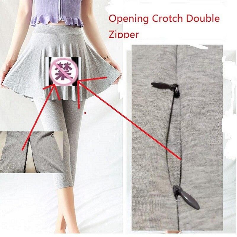 Outdoor Sex Pants For Women Fake Long Pants Cotton Skinny Split High Waist Leggings Female Open Zipper Black Sexual Trousers