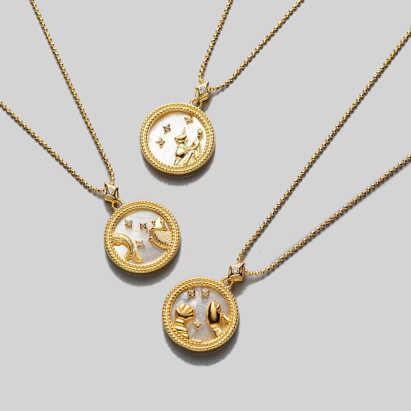 Collar de moneda S925 de plata esterlina con concha de horóscopo constelación Libra disco Fritillary/colgante del zodiaco de piedra arenisca azul tlx745