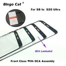 10 шт. наружном ЖК экран стекло с OCA пленка для Samsung Galaxy S8 S9 S10 5G S20 плюс S21 ультра Примечание 10 плюс ЖК трещины ремонт изделий из стекла