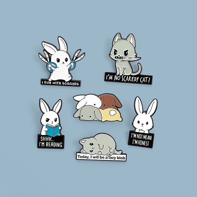 mdiger brand wholesale men s jewelry brooches lapel floral pin mens wedding party tuxedo upscale trendy brooches pin 16 pcs lot Cartoon Rabbit Enamel Pin Badge White Bunny Brooches for Women Men Cute Anime Animal Lapel Pin Quote Jewelry Gift Wholesale