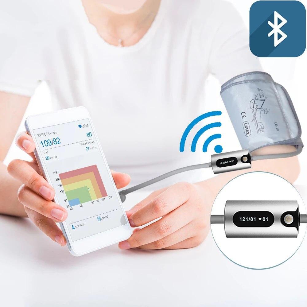 جهاز قياس ضغط الدم الذكي مزود بتقنية البلوتوث مقياس ضغط الدم المحمول عالي التجهيز مقياس دقيق لقياس الضغط القابل لإعادة الشحن مقياس التوتر ال...