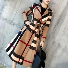 2021 Korea Winter Women Vintage Lattice Slim Long Plaid Coatprinted Warm Double Breasted Coat Casaco