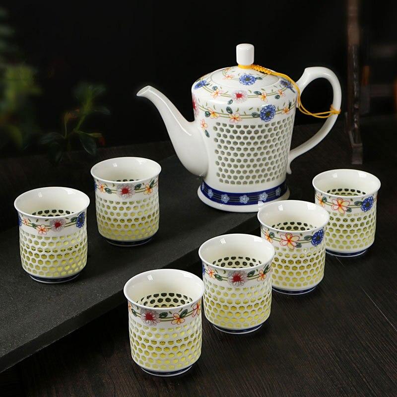 Juego de té chino YeFine kungfú, tetera de cerámica de diseño creativo con 6 tazas de té, utensilios para bebida para viaje, regalo de lujo
