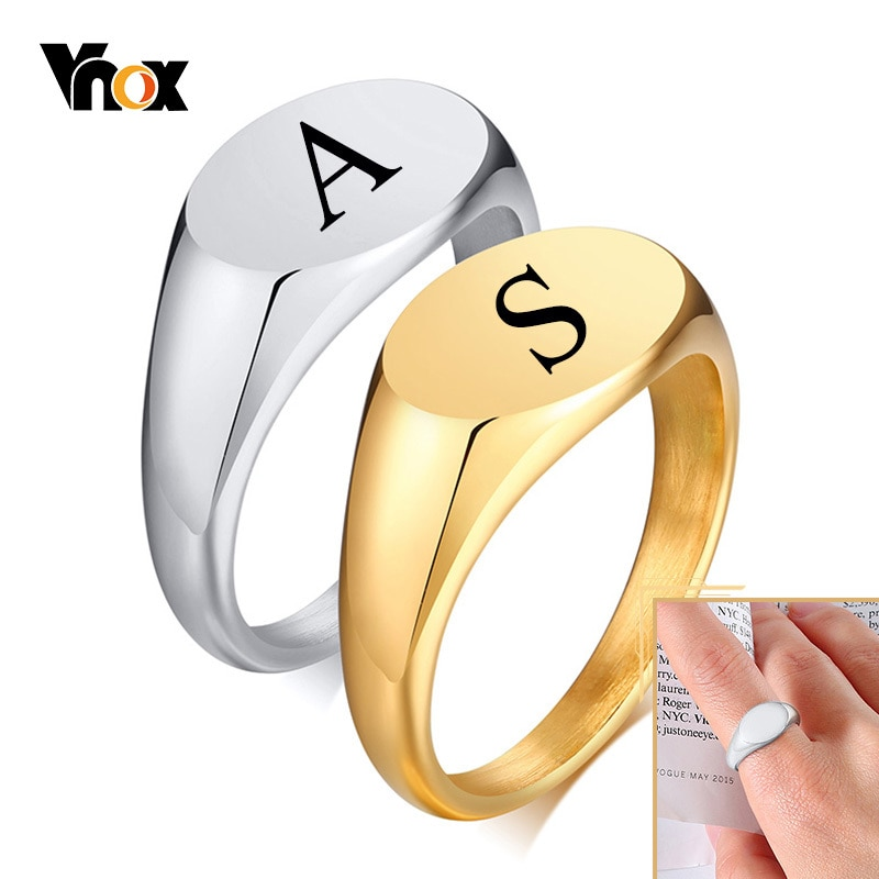 Vnox 9mm Personalized Signet Rings for Women, Minimalist Oval Top Stamp Finger Band, Chic Stainless Steel Candid Street Jewelry vnox temperament wedding rings for women men cz stones stainless steel engagement band anniversary personalized gift jewelry