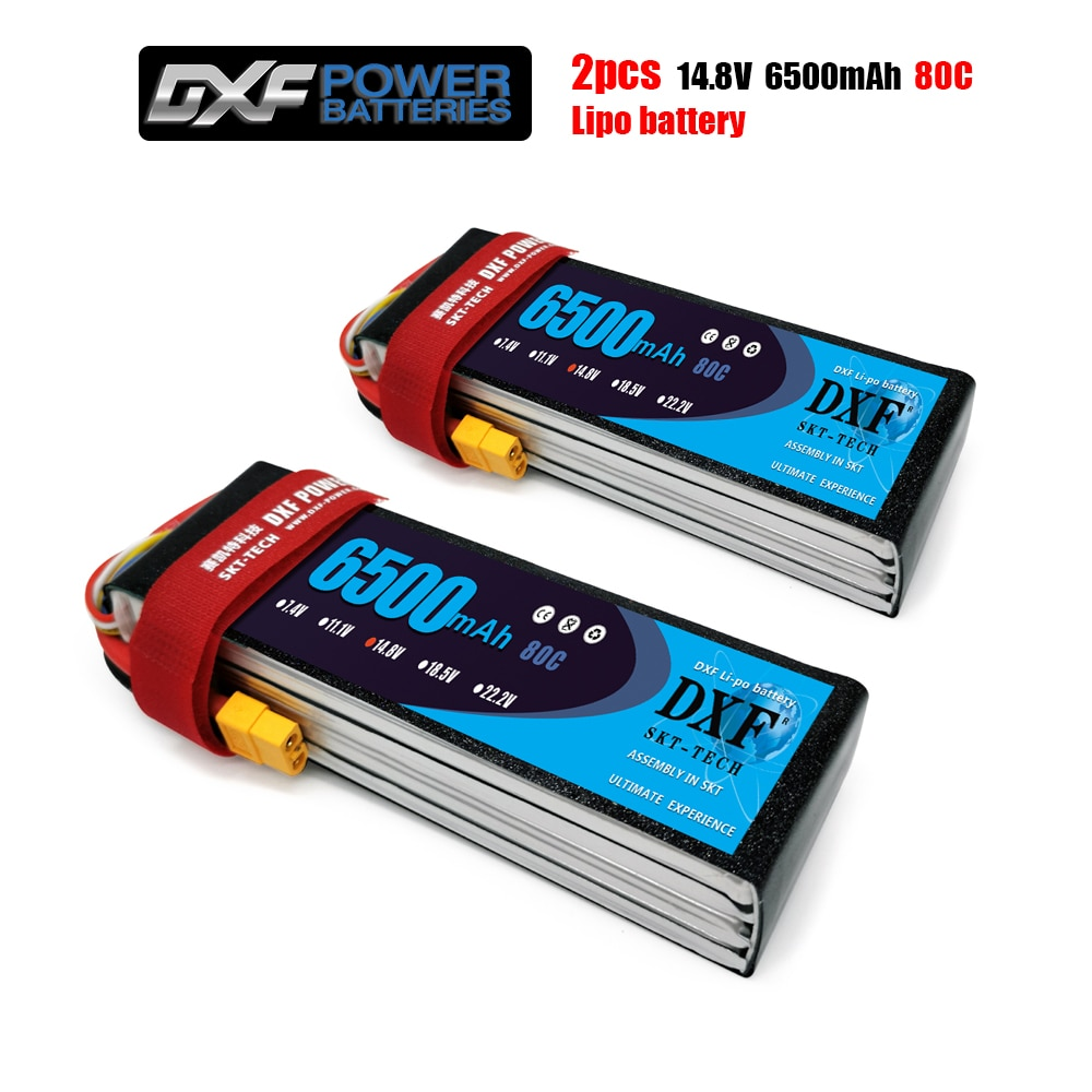 2PCS DXF Lipo Battery 2S 3S 4S 6S 7.4V 11.1V 14.8V 22.2V 6500mAh 80C 160C For Car Quadcopter Helicopter Drone Align 7.2 Yak 54 enlarge
