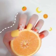 Été doux Orange faux ongles Art autocollants Ins femmes beauté manucure fruits motif carré faux ongles patchs avec colle T