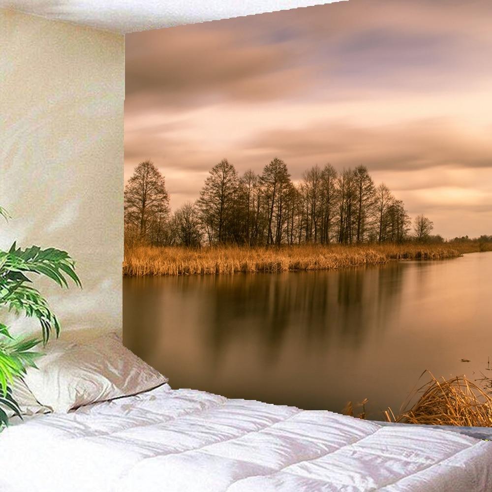 3D Lago, bosque, reflejo en la puesta de sol bosques tapiz Natura tapices para colgar en la pared Hippie Hippy papel tapiz decoración del hogar
