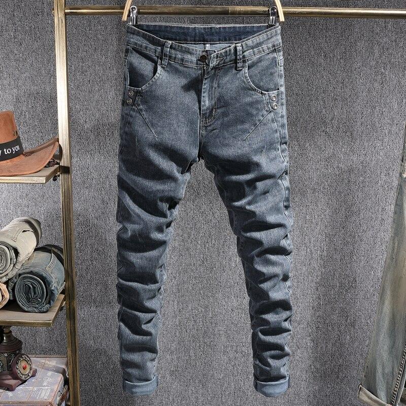 Модные мужские джинсы в Корейском стиле ретро Синие Серые Эластичные зауженные рваные джинсы мужские винтажные Дизайнерские повседневные ...