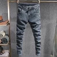 korean style fashion men jeans retro blue gray elastic slim fit ripped jeans men vintage designer casual denim pencil pants