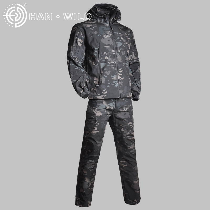 Gear Tactical Softshell Camouflage Jacket Set Men Army Windbreaker Waterproof HuntingClothes Set Military Jacket andPants outdoor m65 tactical airsoft jacket suits camouflage jacket set men army hunting jackets military waterproof jacket windbreaker
