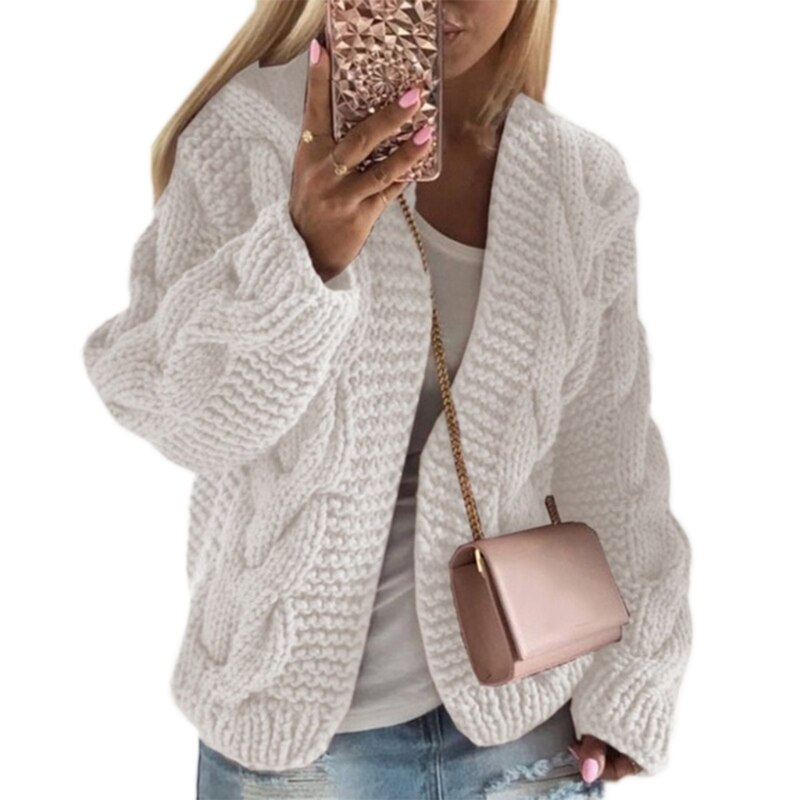 Women Chunky Cable Twist Knit Cardigan Solid Color Open Front Loose Sweater Coat enlarge