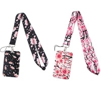 g1947 cartoon cherry blossoms lanyard keychain keys badge id mobile phone rope kids gifts lanyard with card holder cover