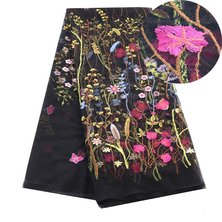 Tela de encaje francés africano, tela de encaje de red de tul de alta calidad, 5 yardas, tela de encaje nigeriano bordado para mujeres