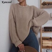 KANCOOL 2020 automne surdimensionné pull femmes solide lâche tricoté chandails à manches longues pull femme pull cachemire