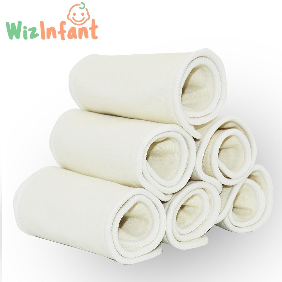 WizInfant 10pcs 4 layers Hemp Cotton Diaper Insert Reusable Super  Soft Baby Nappy Insert 36*13.5cm for Cloth Diaper&Covers
